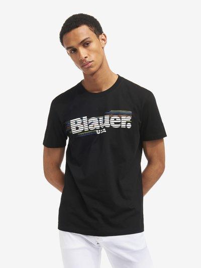 T-SHIRT A RAYURES BLAUER