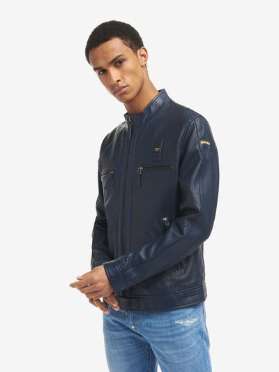 LLOYD UNLINED PERFORATED LEATHER BIKER JACKET