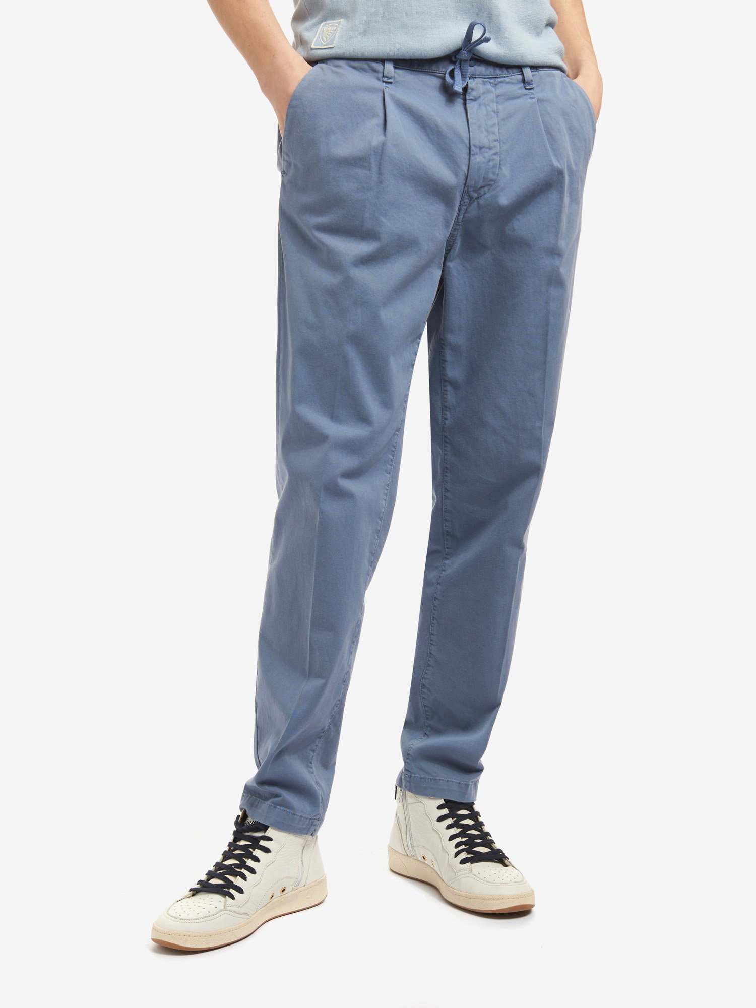 Blauer - TROUSERS WITH GATHERED WAIST - Deep Blue - Blauer