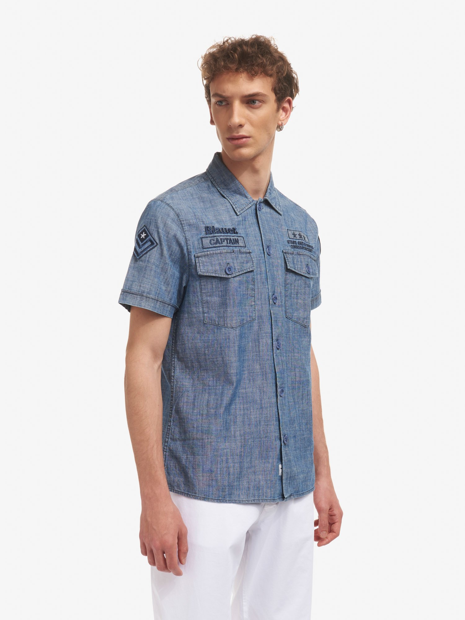 Blauer - CAMICIA CHAMBRAY CAPTAIN BLAUER - Stone Washed - Blauer