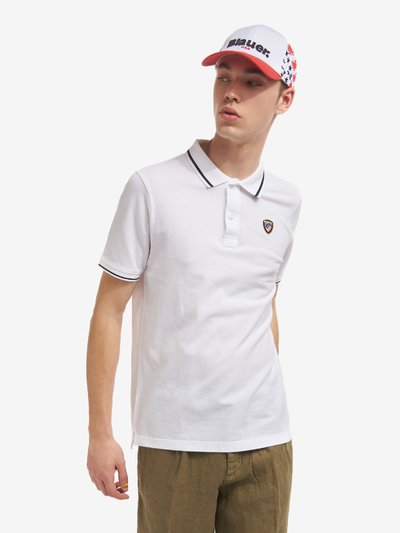 POLO SHIRT WITH STRIPED EDGES