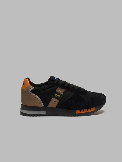 QUEENS CLASSIC LEATHER-TRIMMED SUEDE AND RIPSTOP SNEAKERS