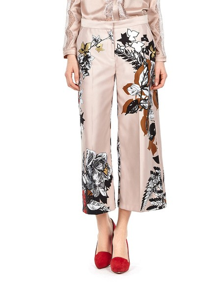 Rose-print Duchesse- Satin Cropped Pants