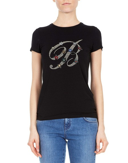 Crystal Embellished  b  Logo T-shirt