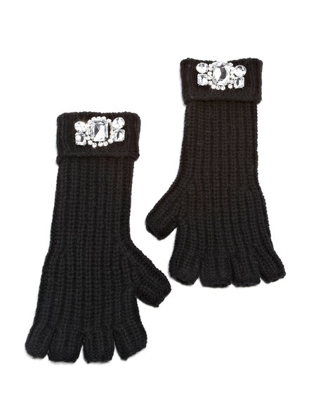 Crystal Embroidered Fingerless Gloves