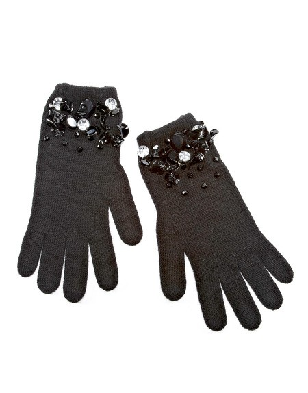 Sequin And Crystal-embroidered Gloves