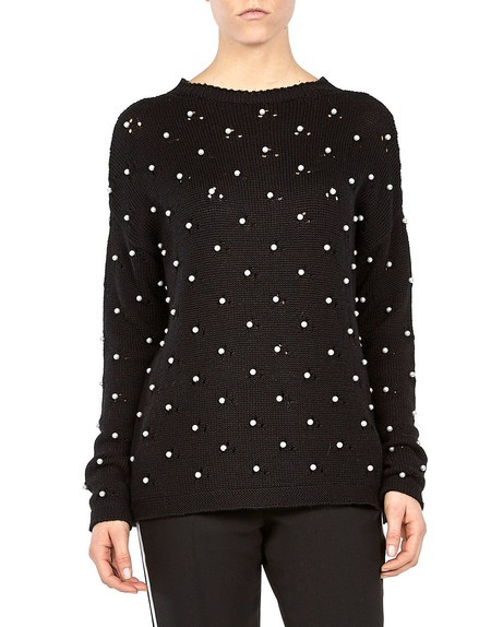 Pearl-embroidered Wool Blend Sweater
