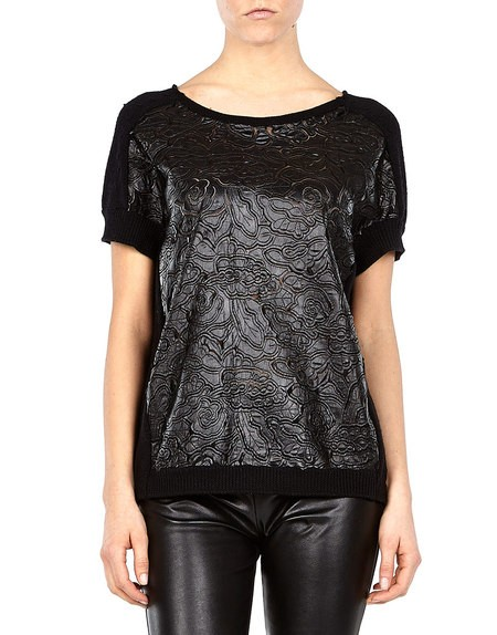 Embroidered Laser-cut Faux Leather Sweater