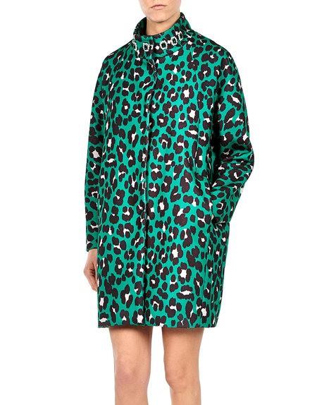 Crystal Embellished Leopard Print Coat