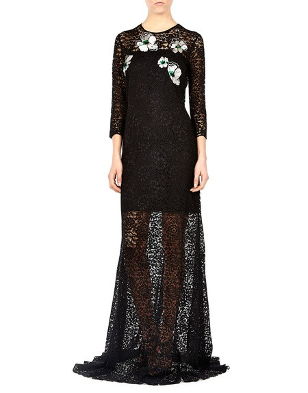 Flower-embroidered Lace Maxi Dress