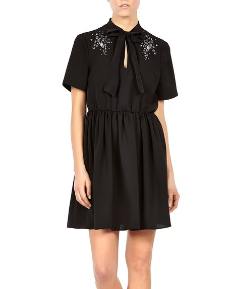 Lace-paneled Chiffon Dress