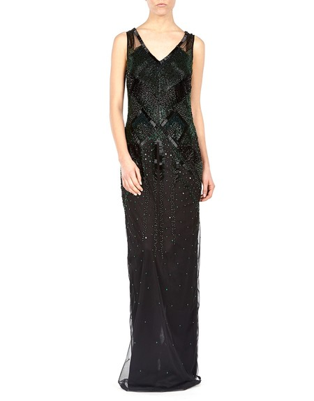 Embroidered Black And Emerald Gown