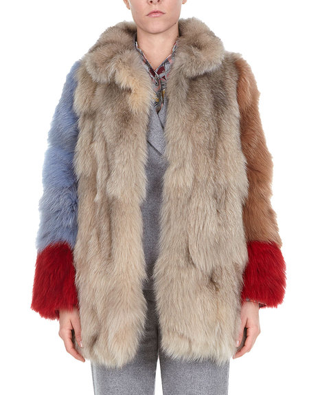Multicoloured Fox-fur Jacket