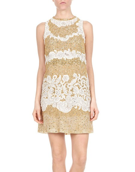 Lace And Sequin-embellished Gold Mini Dress
