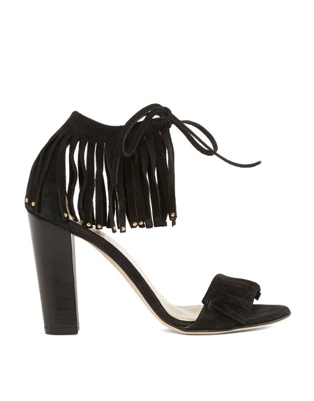 Fringed Suede Heeled-sandal