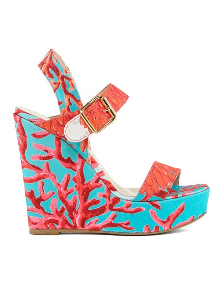 Coral-print Wedge Sandals