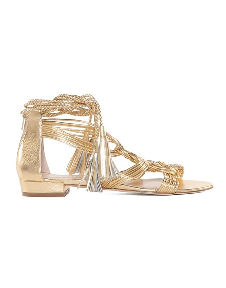 Braided Gold-leather Flat Sandal
