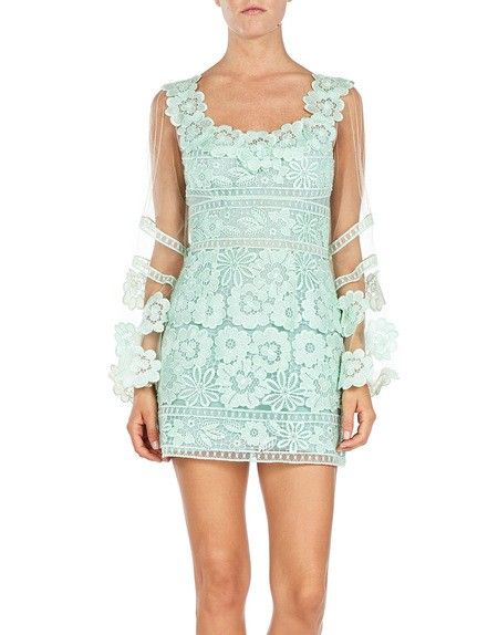 Macramé Dress With Floral Appliqués