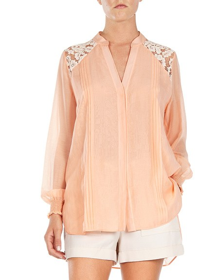Cotton-voile Blouse With Lace Appliqués