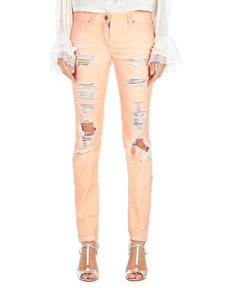 Pantaloni Con Strappi in Cotone