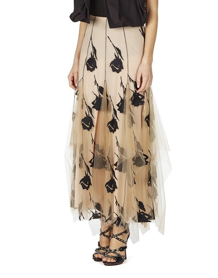 Rose Embroidered Tulle Skirt