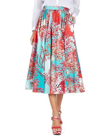 Coral-print Cotton Skirt