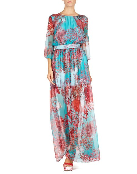 Short Sleeve Coral Print Gown