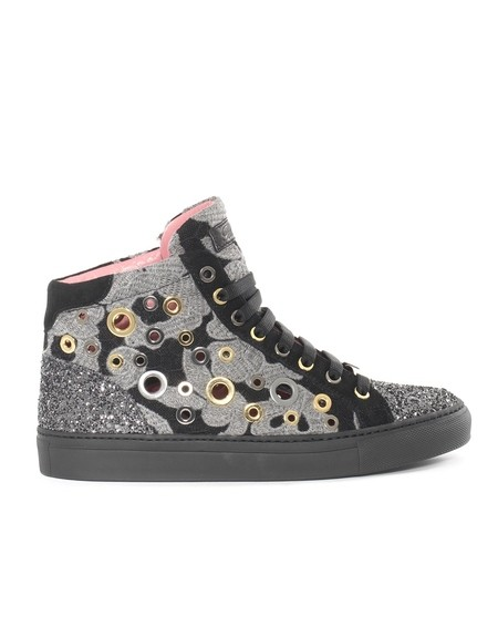 Macramé and glitter high sneakers