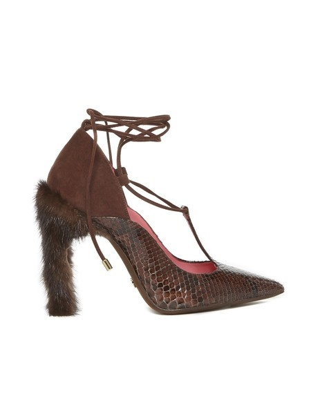 Pointed-toe Python, Suede and Mink Court Shoe