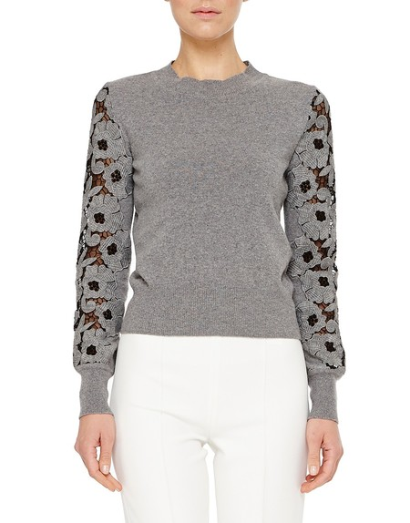 Cashmere Jumper with Macramé Lace