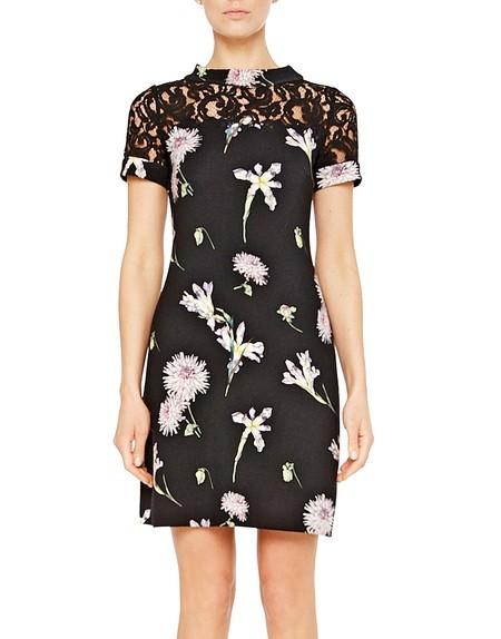 Vestido en tejido de lana con estampado floral