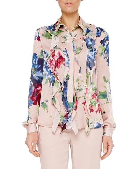 Camisa en charmeuse de seda con estampado floral pictórico
