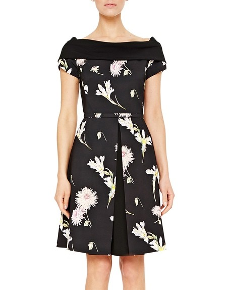 Floral Twill Dress with Contrasting Belt and Neckline