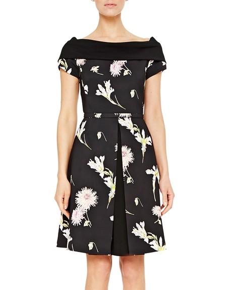 Florales Cady-Kleid mit Gürtel und kontrastierendem Ausschnitt