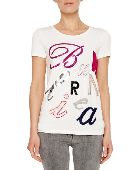 T-shirt in Jersey Stretch Con Ricamo-logo