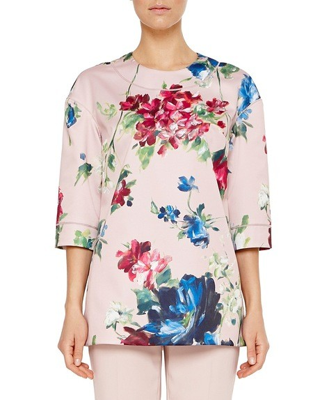 Blusa in Duchesse Stampa Floreale Pittorica