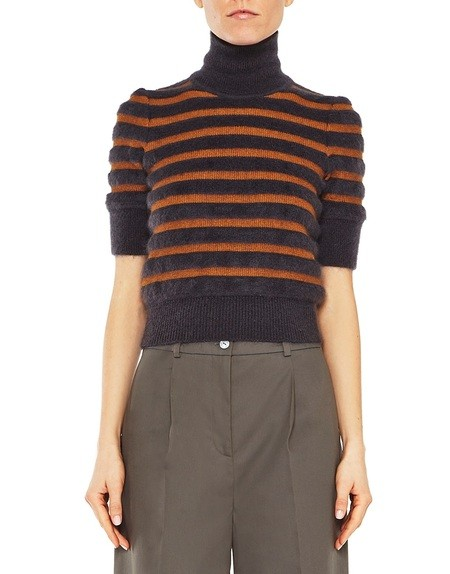 Gestreifter Pullover aus Wolle und Seide