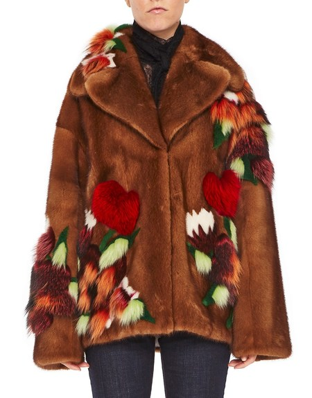 Mink Fur Coat With Floral Inlay