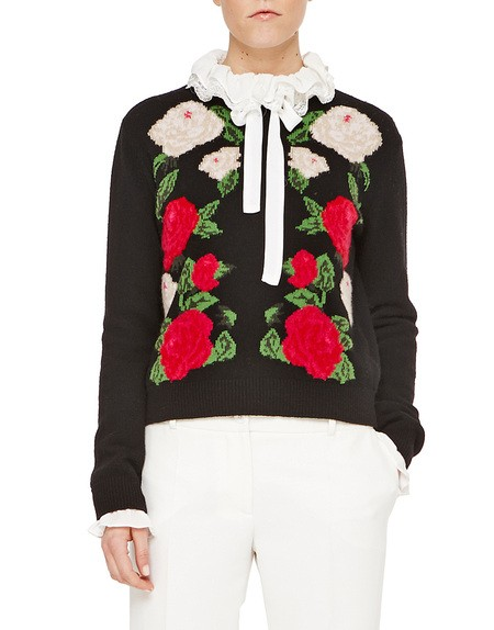 Cardigan with Inlaid Floral Embroidery