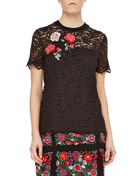 Lace Top with Floral Embroidery