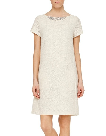 A-Line Lace Effect Jacquard Dress