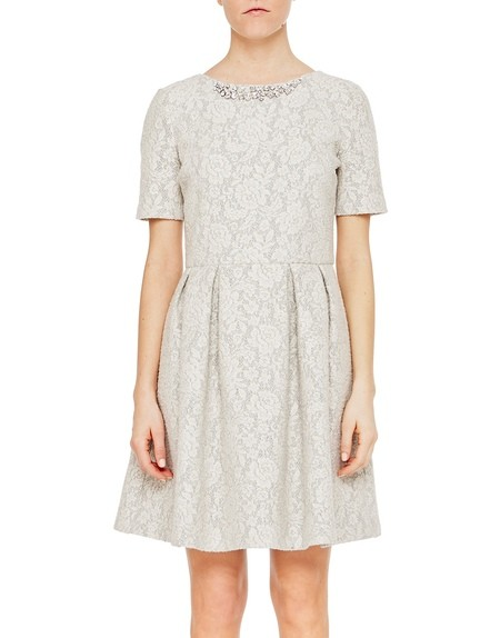 A-Line Lace Effect Jacquard Dress with Pleats