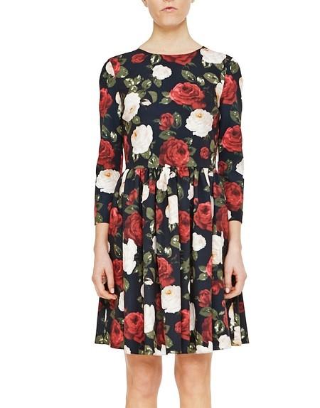 Kleid aus Cady mit Rosen-Print und Falten