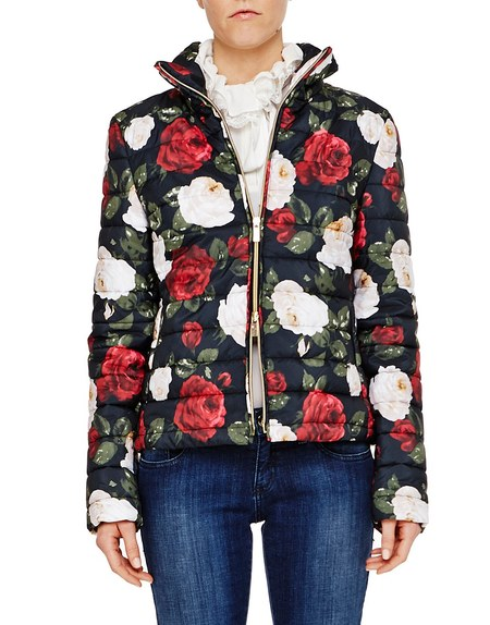 Down Jacket with Roses Print