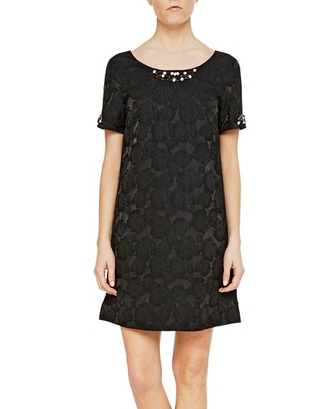 Florales Jacquard-Kleid mit A-Linie