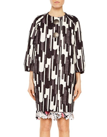 Graphic Print Jacquard Fabric Coat
