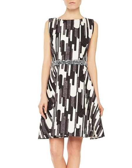 Jacquard Fabric Dress with Graphic Print