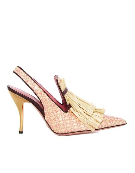 Туфли-лодочки на высоком каблуке с верхом из рафии и бахромой