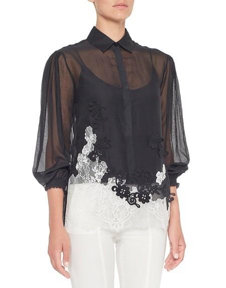 Хлопчатобумажная блузка с кружевной вставкой и цветочным мотивом