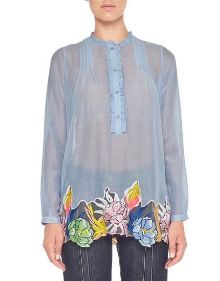 Хлопчатобумажная блузка с цветочной вышивкой